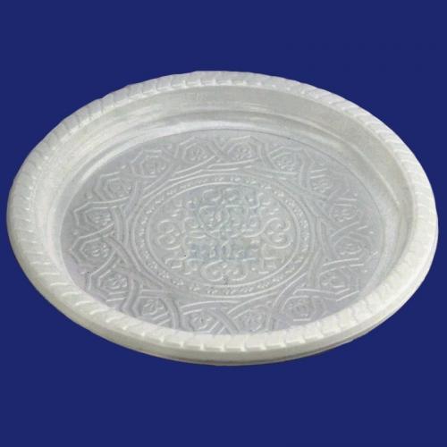 Тарелка с узором Olimp одноразовая пластиковая диаметр 220мм белая 50/18/900
