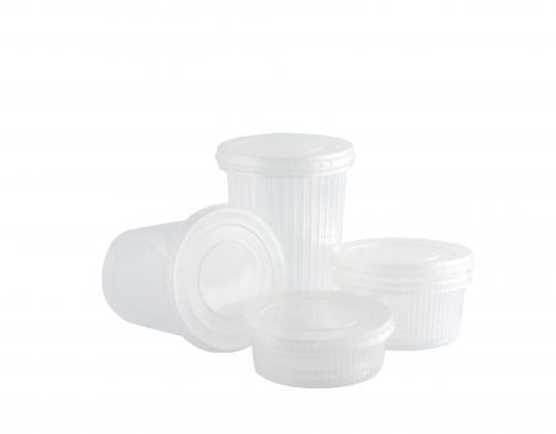 Контейнер пищевой одноразовый пластиковый 0,125 л с крышкой Ф94,5х27,5мм 50/14/700