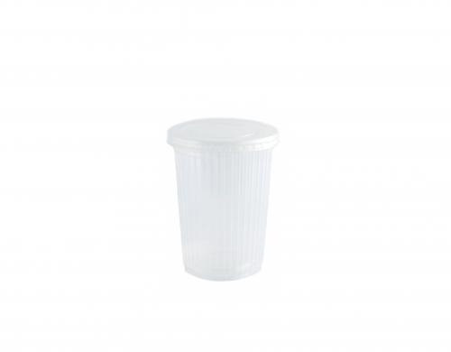 Контейнер пищевой одноразовый пластиковый 0,5л с крышкой Ребро Ф94,5х118мм 50/20/1000