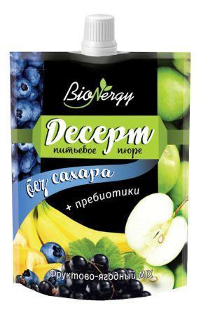 """Десерт фруктово-ягодный MIX """"Голубика-Яблоко- Черная смородина-Банан """"""""BioNergy"""""""